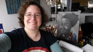 At my workspace with portrait-in-progress, plus bonus Avengers.