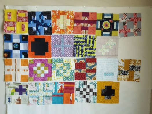 Finished blocks for the first quarter of the 100days100blocks challenge, on the design wall