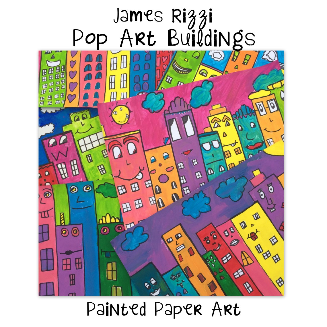 james rizzi pop art buildings painted paper art