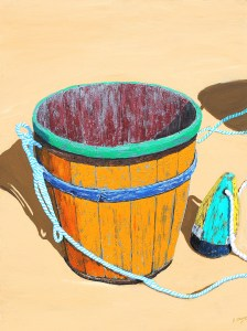 """Painting by Tom Alway, Afternoon at the Beach, acrylic & mixed media on canvas 30"""" x 40"""""""