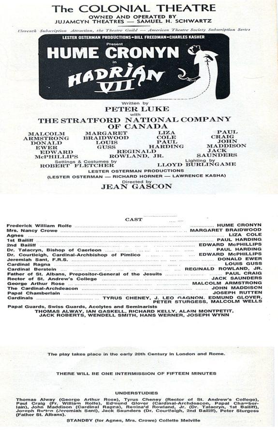 Cast List for Hadrian VII