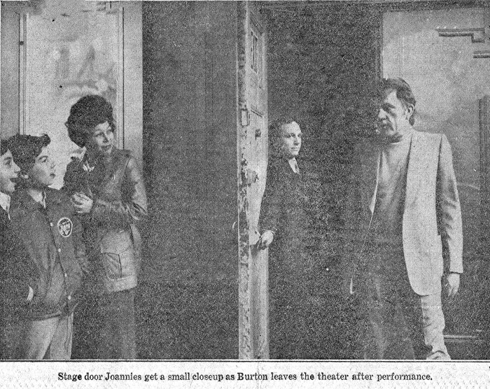 Tom Alway at the stage door of the Plymouth letting Richard Burton out.  Photo in the Daily News