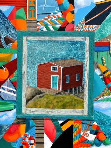 "Attic Memories & Crazy Quilts, by Tom Alway, acrylic and mixed media on canvas, 30""  x 40"" at the Maritime Painted Saltbox Gallery in Petite Riviere, Nova Scotia"