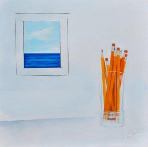 """Drafting the View by Peter Blais, acrylic on gallery canvas, 20"""" x 20"""" at the Maritime Painted Saltbox Fine Art Galley in Petite Riviere, Nova Scotia"""