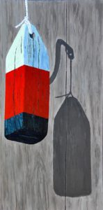 Old Buoy with a Weathered Eye by Tom Alway,acrylic and mixed media on gallery canvas, 18 x 36 at the Maritime Painted Saltbox fine Art Gallery in Petite Riviere Nova Scotia