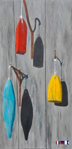"Old Buoys' Trio on Strings by Tom Alway,  18"" x  36"", acrylci on gallery canvas at the Maritime Painted Saltbox Fine Art Gallery in Petite Riviere Nova Scotia"