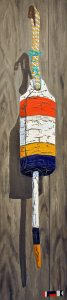 "Old Buoy with a Distinguished Pedigree by Tom Alway, acrylic and mixed media on canvas 14""  x 50"" framed at the Maritime Painted Saltbox Fine Art Gallery in Petite Riviere Nova Scotia"
