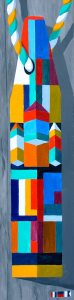 "A Proud and Admirably Abstracted Buoy by Artist, Tom Alway, acrylic on canvas 14"" x 38"" framed"
