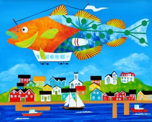"Return of the Transatlantic Cod Balloon, by Artist Peter Blais, acrylic on canvas 18"" x 22"""