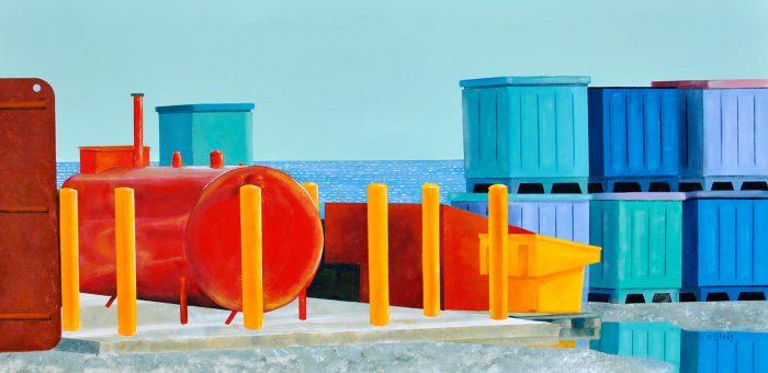 Skyline by Peter Blais, acrylic on canvas, 26 x 50framed