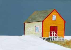 "Yellow Store at Dusk by Peter Blais, acrylic and coloured pencil on canvas, 20"" x 26"" framed at the Maritime Painted Saltbox Fine Art Gallery in Petite Riviere Nova Scotia"