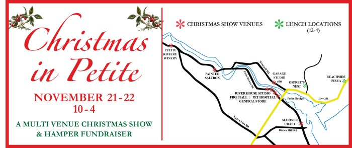 Location Rack Card for the venues  for Christmas in Petite Riviere  Nov 21 & 22