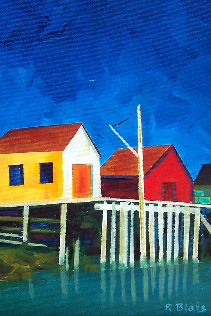 Evening at Blue Rocks by Peter Blais  Metal Print 12 x 18 available at the Maritime Paintd Saltbox Fine Art Gallery in Petite Riviere Nova Scotia