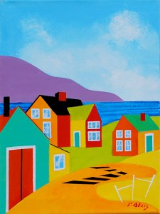 """Coming Home: Ned's Blue Store by Peter Blais, acrylic on canvas, 14"""" x 18"""" framed, at the Maritime Painted Saltbox Fine Art Gallery in Petite Riviere Nova Scotia"""