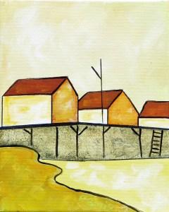 "Wharf at Blue Rocks by Peter Blais acrylic on canvas  10"" x 12"""