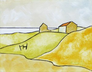 """Petite Barns by Petr Blais , acrylic on canvas 10"""" x 12"""" at the MaritimePainted Saltbox Fine Art Gallery"""