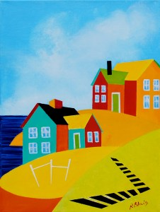 """Coming Home: Rocky Point by Artist Peter Blais, acrylic on canvas , 14"""" x 18"""" framd at the MaritimePainted Saltbox Fine Art Gallery in Petite Nova Scotia"""