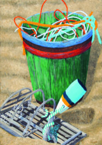 """Painting by Tom Alway, Buried Treasure, acrylic & mixed media on canvas, 30"""" x 40"""""""