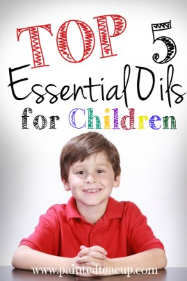 Top 5 essential oils for children and ways they can be used. Also some important safety precautions to use when considering essential oils for children! www.paintedteacup.com