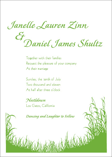 Natural, simple, invitation design with grass