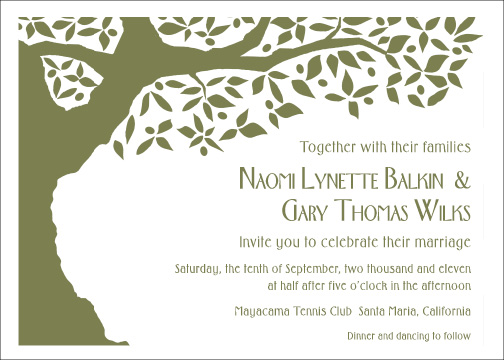 Contemporary olive tree wedding invitation design