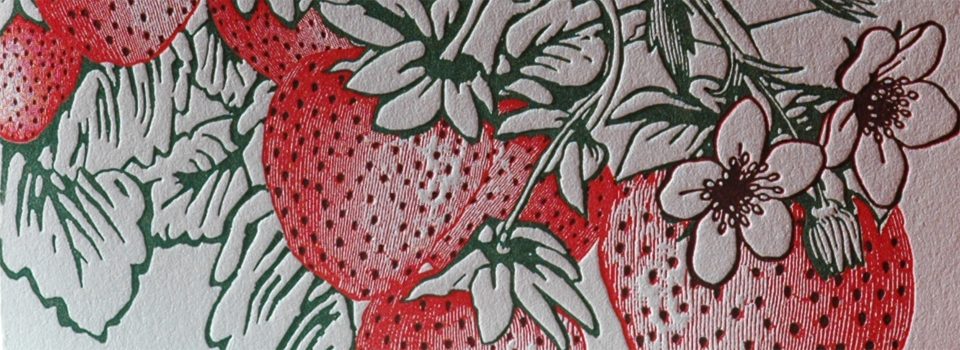 Strawberry Letterpress Greeting Card Close-up