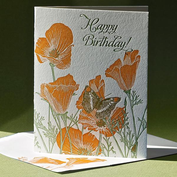 California Poppy Birthday Card