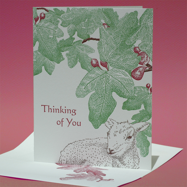 """Fig tree card with lamb, """"Thinking of You"""""""