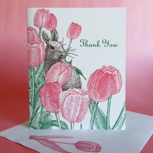 Tulip letterpress thank you note with rabbit by Painted Tongue Press