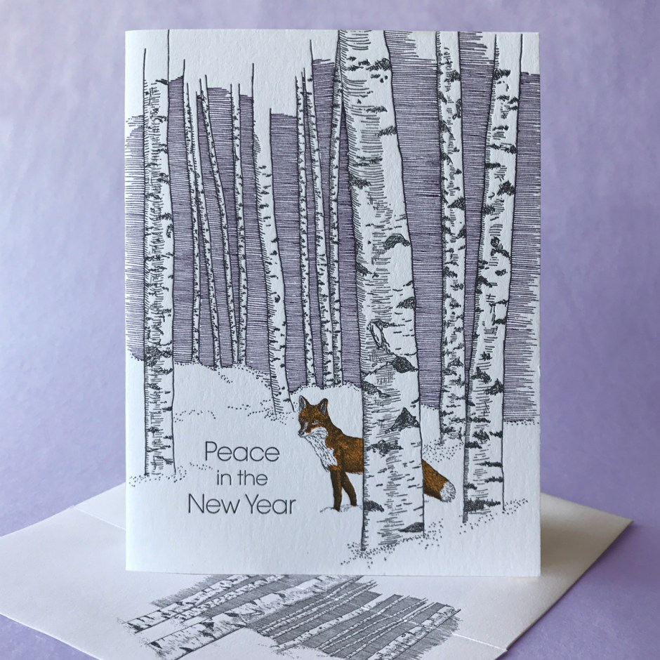 Birch New Year card with Fox