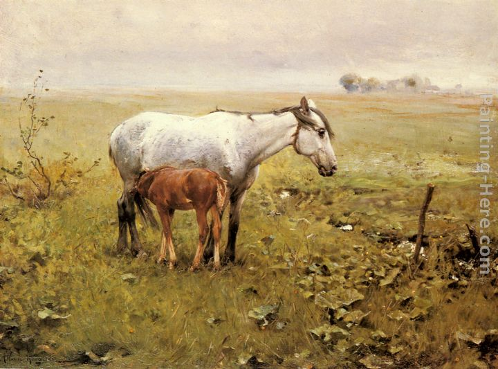 A Mare and her Foal in a Landscape
