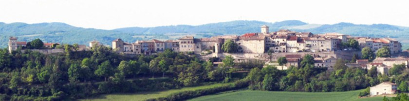 Castelnau de Montmiral over the valley from South