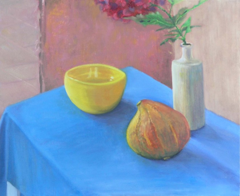 Kate-still life with gourde & yellow pot