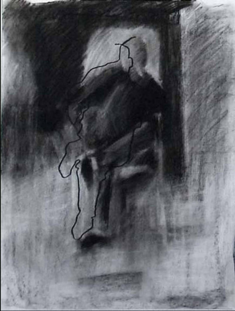 Keithe williams charcoal drawing of model