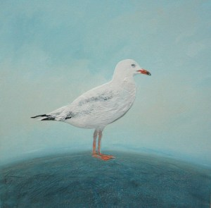 Raised textured seagull painting