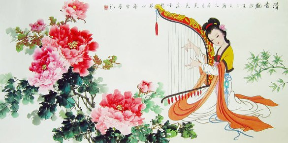 Peony and Beauty   Chinese flower painting Chinese flower paintings   Peony and Beauty