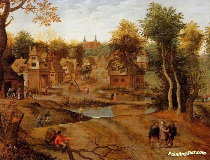 Village Landscape With Ammaus Pilgrims Artwork By Pieter
