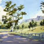 Capertee Valley Farmland Trees Cliffs and strong light watercolor painting