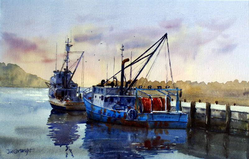 Watercolor paintings boats and the sea gallery seascapes for Fishing boat painting