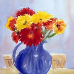 watercolor painting of gerberas in blue glass vase