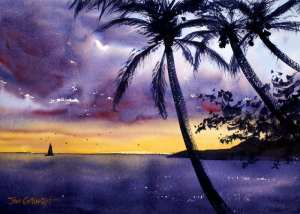 Hawaiian sunset watercolor painting. Palm trees in front with sailing boat in distance.
