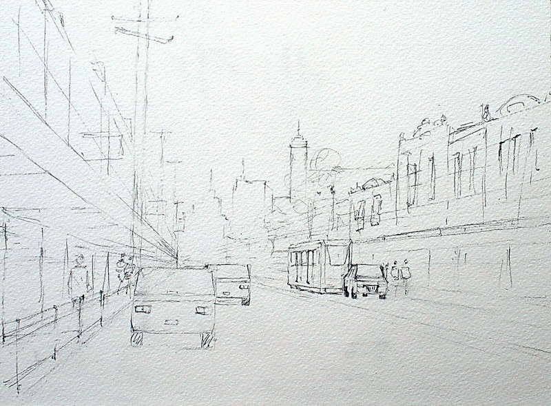 Street scene watercolor demonstration Bridge Road, Richmond