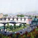 Watercolor painting of the Prague Bridges
