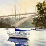 Sailing boat at Abbotsford Cove watercolor painting. Gladesville Bridge in background.