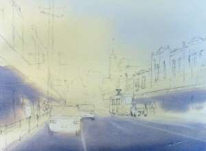 Street Scene watercolor underpainting