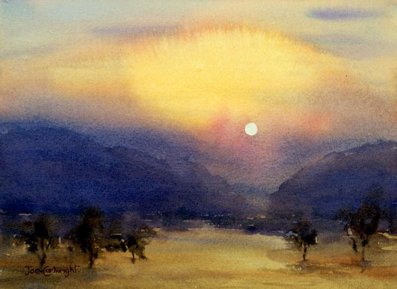 Sunrise After Fire Landscape Watercolor Painting
