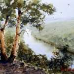 The Rock Lookout Nepean River watercolor painting