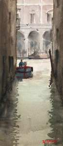 Venice Near Rialto Bridge Plein Air watercolor painting May 2010-2