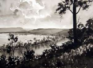 From Streeton Lookout Freemans Reach pen and ink