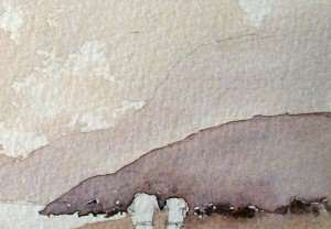 Painting foreground hill and rocks with watercolor